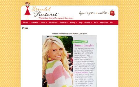 Screenshot of Press Page strandedtreasures.com - Press - captured Oct. 1, 2014