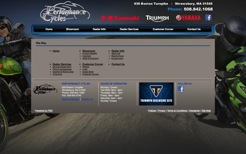 Screenshot of Site Map Page performancecycles.com - Performance Cycles - captured Sept. 29, 2014