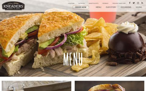 Screenshot of Menu Page kneaders.com - Kneaders Bakery & Cafe - captured Oct. 1, 2018