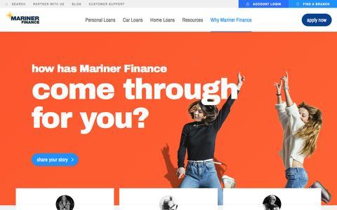 Screenshot of Testimonials Page marinerfinance.com - Testimonials – Mariner Finance - captured May 26, 2017