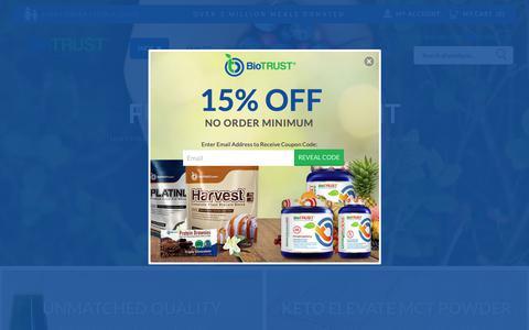 Screenshot of Home Page biotrust.com - Biotrust | BioTRUST — Naturally Honest Supplements & Vitamins - captured April 10, 2019