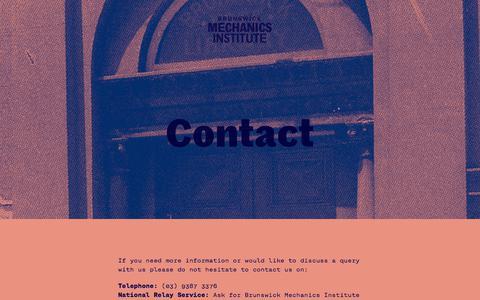 Screenshot of Contact Page brunswickmechanics.com - Contact — Brunswick Mechanics Institute - captured July 10, 2018