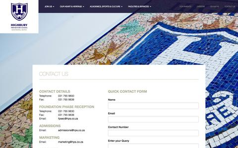 Screenshot of Contact Page hps.co.za - Highbury Preparatory School – an independent Christian school for boys - captured Jan. 29, 2016