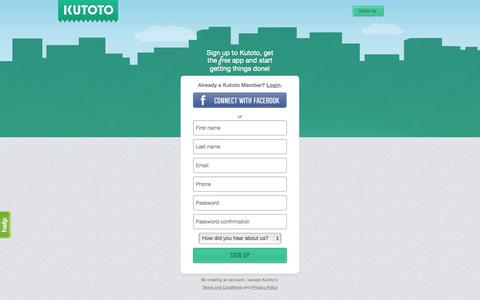 Screenshot of Signup Page kutoto.com - Kutoto - Get things done, locally. - captured Sept. 16, 2014