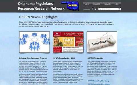 Screenshot of Press Page okprn.org - Oklahoma Physicians Resource/Research Network (OKPRN) | NEWS/HIGHLIGHTS - captured April 20, 2017