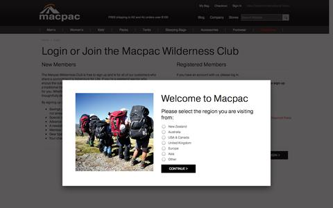 Screenshot of Signup Page Login Page macpac.co.nz - Customer Login | Macpac - captured Oct. 23, 2014