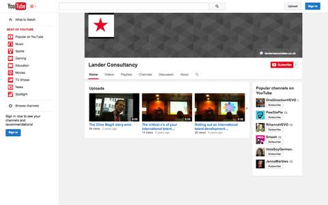 Screenshot of YouTube Page youtube.com - Lander Consultancy  - YouTube - captured Oct. 22, 2014