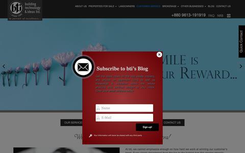 Screenshot of Support Page btibd.com - Customer Service | bti - captured Oct. 7, 2018