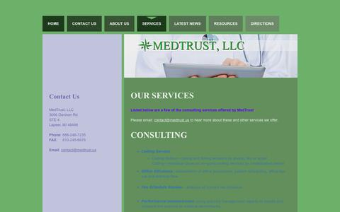 Screenshot of Services Page medtrust.us - Services | Medical Billing Services | Medical Billing Consulting - captured Feb. 12, 2016