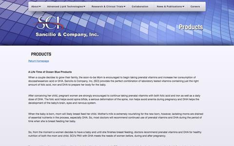 Screenshot of Products Page sancilio.com - Products | Sancilio - captured Oct. 4, 2017