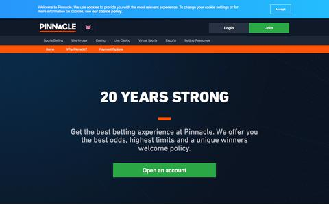 Screenshot of About Page pinnaclesports.com - Online Betting Promotions at Pinnacle - Winners Welcome! - captured Aug. 19, 2019