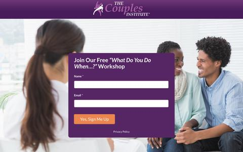 Screenshot of Signup Page couplesinstitute.com - Join our workshop: What Do You Do When…? 2019 OI FBA Communication - Couples Institute - captured Aug. 9, 2019