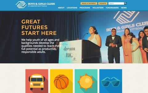 Screenshot of Home Page bgcs.org - Home - Boys & Girls Clubs of Greater Scottsdale - captured Jan. 24, 2015
