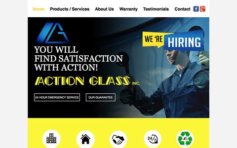 Screenshot of Home Page actionglassbc.com - Action Glass - captured Oct. 7, 2017