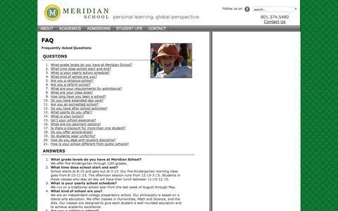Screenshot of FAQ Page meridianschool.org - FAQ   Meridian School - captured Oct. 27, 2014