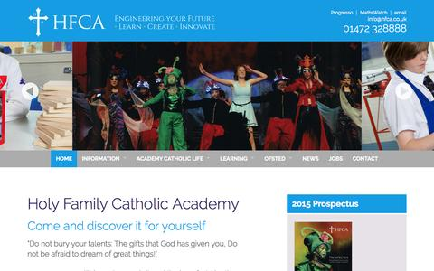 Screenshot of Home Page hfca.co.uk - Holy Family Catholic Academy | Cleethorpes, North East Lincolnshire. - captured Oct. 10, 2015