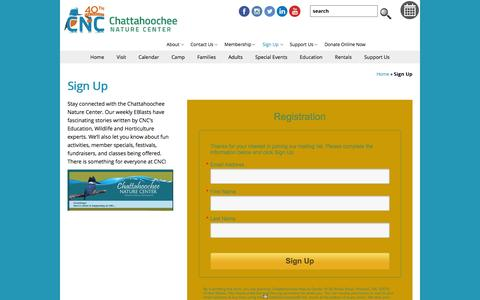 Screenshot of Signup Page chattnaturecenter.org - Sign Up - Chattahoochee Nature Center  : Chattahoochee Nature Center - captured Jan. 27, 2016