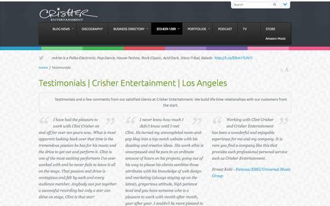 Screenshot of Testimonials Page crisherentertainment.com - Testimonials | Crisher Entertainment | Los Angeles - captured Oct. 28, 2014