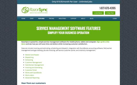 Screenshot of Products Page razorsync.com - Service Management Software Features - RazorSync - captured Dec. 1, 2015