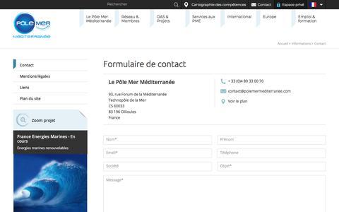 Screenshot of Contact Page polemermediterranee.com - Contact - Informations - captured Dec. 19, 2017