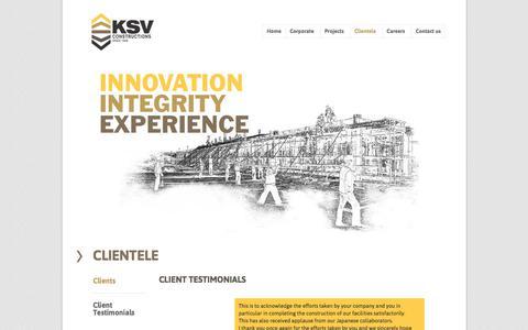 Screenshot of Testimonials Page ksv.co.in - KSV Construction | Since 1948  » Client Testimonials - captured Oct. 16, 2017