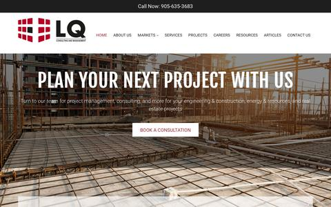 Screenshot of Home Page lqcmi.com - Project Management Consultants Toronto | LQ Consulting and Management - captured July 9, 2017