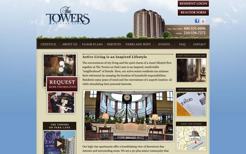 Screenshot of Home Page thetowerslife.com - The Towers on Park Lane - captured Oct. 5, 2014
