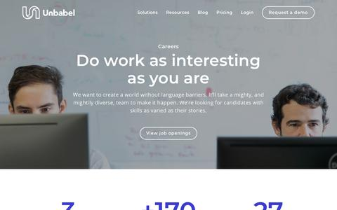 Screenshot of Jobs Page unbabel.com - Careers | Unbabel - captured Feb. 5, 2019