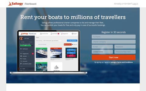 Screenshot of Signup Page sailogy.com - Sign up - Sailogy Fleetboard - captured Nov. 18, 2016