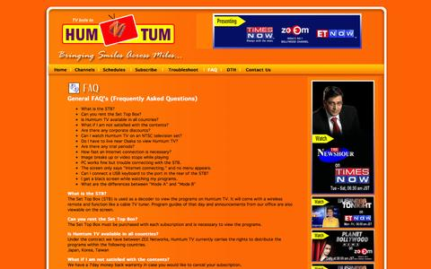 Screenshot of FAQ Page humtumtv.com - Welcome to HumTum TV - Bringing smiles across miles ... - captured Sept. 30, 2014