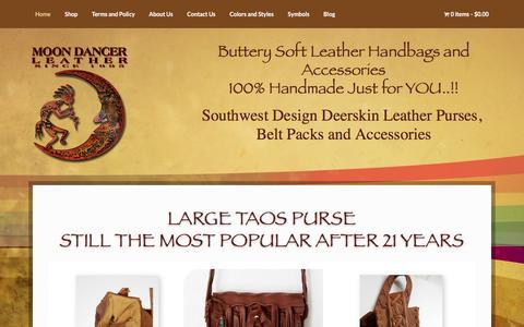 Screenshot of Home Page moondancerleather.com - MoonDancer Southwest Design Soft Leather Handbags - captured April 10, 2017