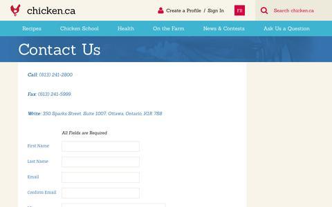 Screenshot of Contact Page chicken.ca - Contact Us » Chicken.ca - captured June 29, 2017
