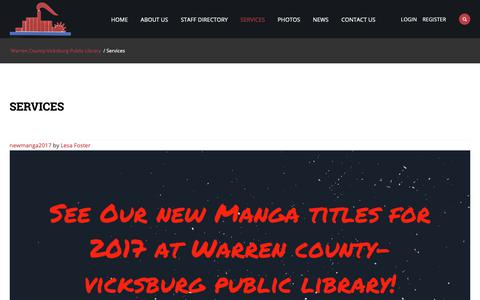 Screenshot of Services Page warren.lib.ms.us - Services | Warren County-Vicksburg Public Library - captured Oct. 20, 2018
