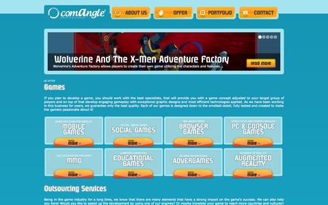 Screenshot of Services Page comangle.com - Our offer | ComAngle Entertainment - captured Oct. 2, 2014