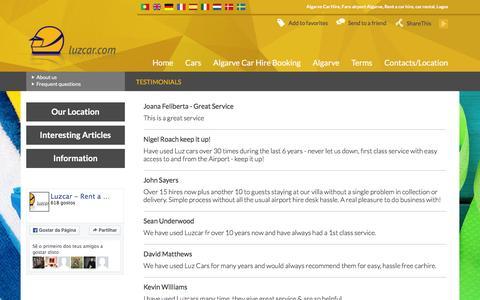 Screenshot of Testimonials Page luzcar.com - Testimonials - Algarve Car Hire | Faro Airport Lagos Rent a Car Rental, Hire Algarve | LUZCAR - captured Dec. 6, 2015