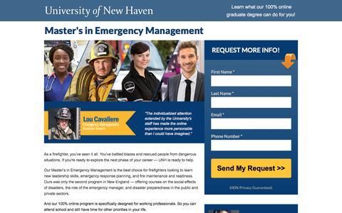 Screenshot of Landing Page newhaven.edu - UNH Emergency Management - captured Sept. 19, 2018