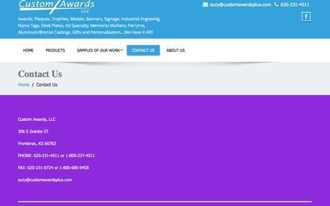 Screenshot of Contact Page customawardsplus.com - Contact Us – Custom Awards, LLC - captured April 10, 2017