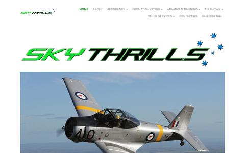 Screenshot of Home Page skythrills.com.au - SKYTHRILLS - Skythrills Home - 0416 084 766 - captured Sept. 23, 2017