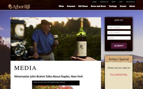 Screenshot of Press Page thegrapery.com - Media   Arbor Hill Winery - captured Feb. 6, 2016
