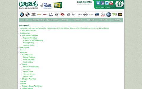 Screenshot of Site Map Page oregans.com - Site Map - O'Regan's - captured Nov. 28, 2016