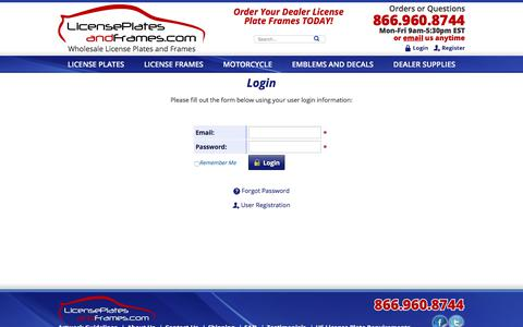 Screenshot of Login Page licenseplatesandframes.com - Login - captured July 19, 2018