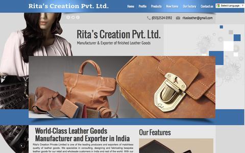 Screenshot of Home Page ritasleather.com - Ritas Leather: Ladies Handbags Manufacturer, Exporter India - captured Sept. 24, 2014