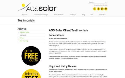 Screenshot of Testimonials Page agssolar.co.za - Solar Geysers and Solar Water Heating Feedback - captured Oct. 26, 2014