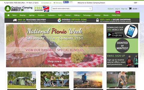 Screenshot of Home Page outdoorcampingdirect.uk - Outdoor Camping Equipment Sale  | Outdoorcampingdirect - captured June 21, 2015