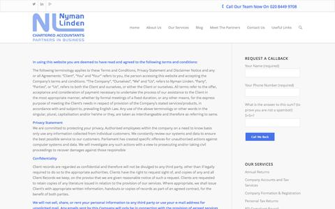 Screenshot of Terms Page nymanlinden.co.uk - Terms of Use   Nyman Linden Chartered Accountants in Barnet - captured Oct. 9, 2014