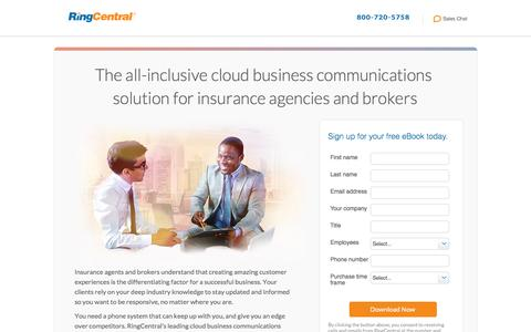 Screenshot of Landing Page ringcentral.com - The all-inclusive cloud business communications  solution for insurance agencies and brokers - captured Nov. 14, 2016
