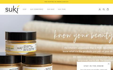 Screenshot of Home Page sukiskincare.com - natural skin care products for sensitive skin | suki skincare – SukiSkincare - captured July 13, 2019