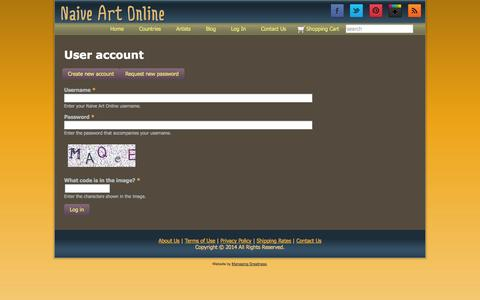 Screenshot of Login Page naiveartonline.com - User account | Naive Art Online - captured Sept. 30, 2014