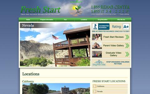 Screenshot of Locations Page freshstart.net - Treatment Facility Locations: Fresh Start Programs - captured Oct. 6, 2014