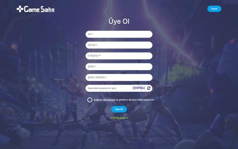 Screenshot of Signup Page gamesatis.com - Üye Ol, İndirimli ve Bonuslu Ürünlerden Faydalan   Game Satış - captured Sept. 23, 2018